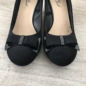 Madeline Stuart Shoes - Black Velvet Wedge Heels